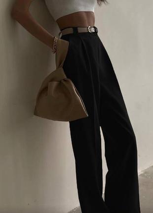 Черные женские брюки широкие штаны на работу офис школа