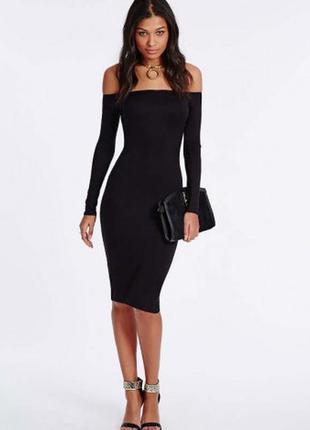 Платье с открытыми плечами по фигуре