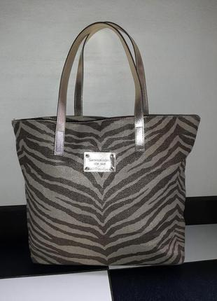Тканевая пляжная сумка шопер от michael kors