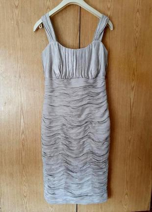 Платье из блестящей парчи, серое, s/m.