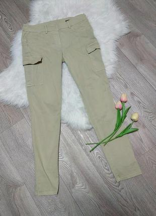 Стрейчевые джинсы карго с накладными карманами джеггинсы штаны ovs зауженные скинни
