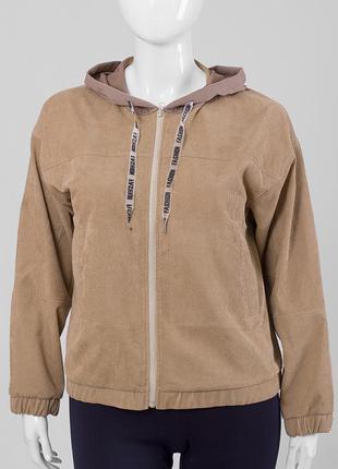 Куртка демисезонная вельветовая, бомбер с капюшоном, толстовка