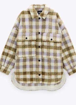 Zara тёплая рубашка оверсайз