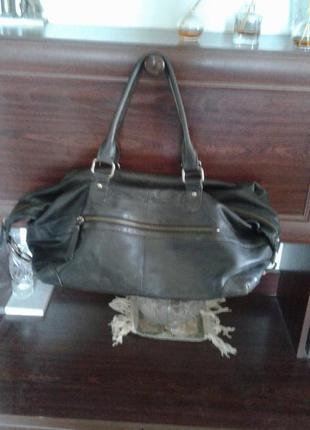 Винтажная кожаная сумка-трансформер шопер саквояж среднего размера нюанс