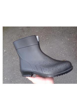 Женские черные резиновые сапоги резинові чоботи гумові