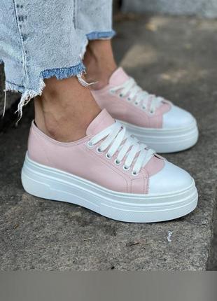 Кроссовки кеды из натуральной кожи розового цвета люкс качества
