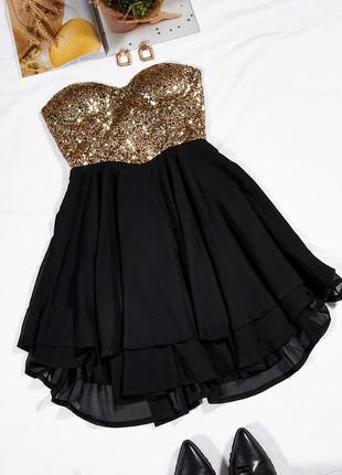 Коктейльное платье с пайетками, золотистое платье клубное, короткое платье черное