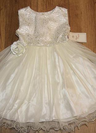 Нарядное платье для девочки, белый атлас, плетёное кружево. viani (модные детки)