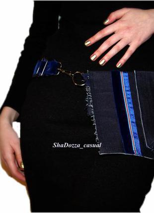Дизайнерская напоясная сумка-карман  № 1 из джинсовой ткани, кросс боди