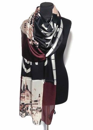 Шелковый розовый черный шарф палантин 100% шелк новый премиум качество