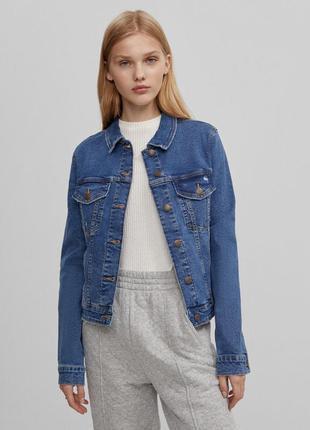Джинсовая куртка от bershka, длинный рукав, xs, s, м, l, xl, оригинал