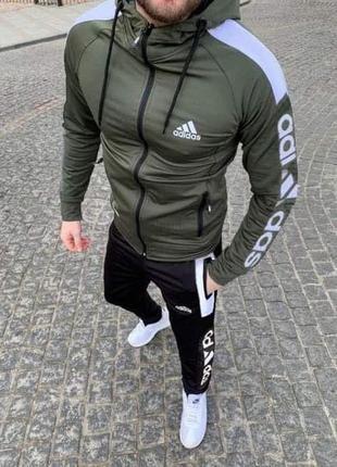 Мужской спортивный костюм adidas, спортивный костюм адидас хаки