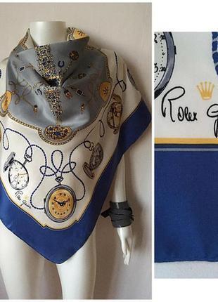 """Шикарный подписной  шелковый платок """"часы""""  rolex"""