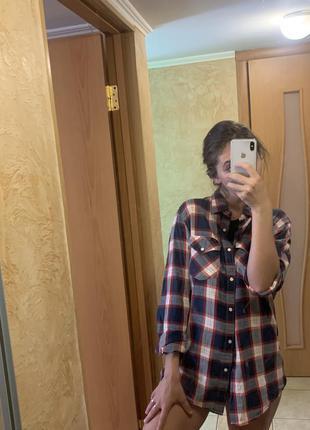 Удлиненная рубашка в клетку свободная мужская оверсайз lee оригинал