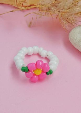 Кольцо из бисера, кольцо с цветком