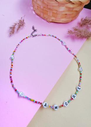 Чокер из бисера с надписью, ожерелье, цепочка из бисера