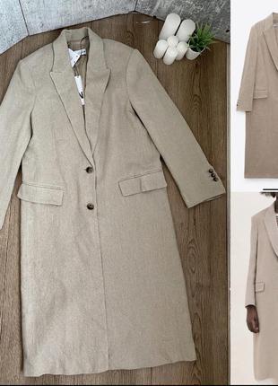 Пальто зара zara в мужском стиле лён лен бежевое