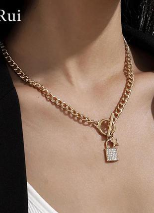 Многослойная цепочка крупная цепь подвеска замочек колье чокер ожерелье ланцюжок
