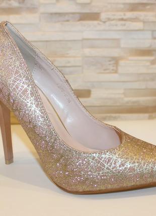 Туфли женские розовые на каблуке т1386