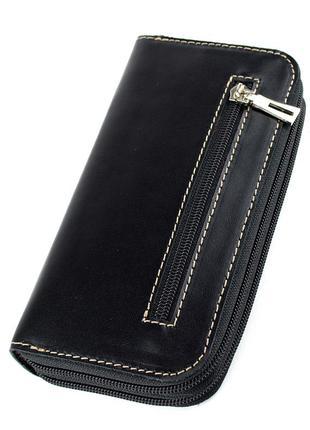 Женский кожаный кошелек на молнии двойной varvara (черный матовый)