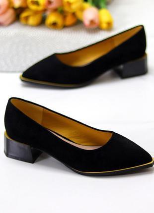 """Туфли """"damo"""", чёрные, экозамша"""