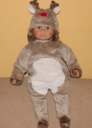Новогодний человечек-костюм оленёнка 6-12 месяцев