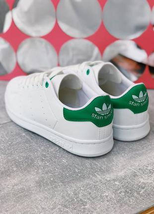 Супер стильные кроссовки adidas stan smith белые с зеленым