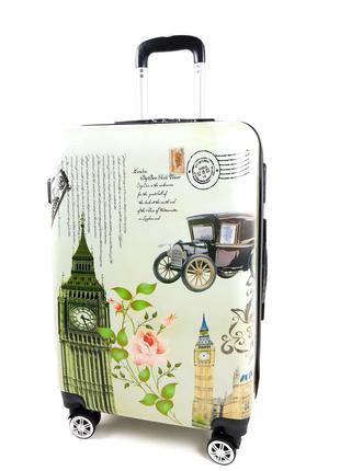 Средний чемодан лондон на колесах, с 3d эффектом 60л