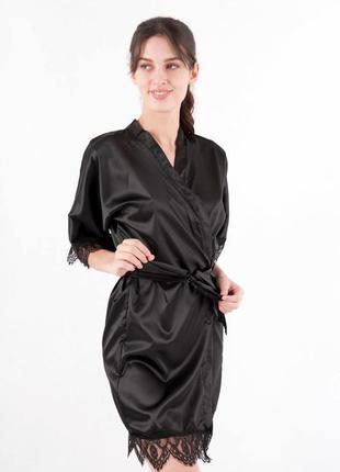 Халат женский атласный с кружевом черный