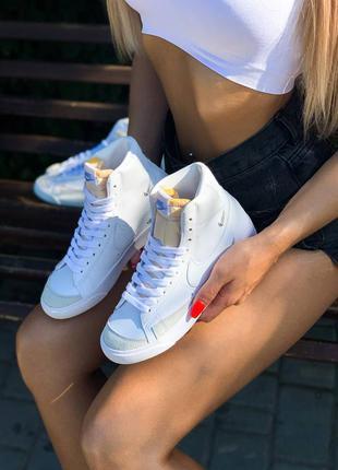 Nike blazer mid 77 white swosh кроссовки женские высокие