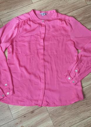 Новая малиновая блузка, рубашка, цвет фуксия р 40