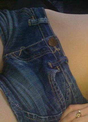 Джинсовые шорты на низкой посадке с плотного джинса