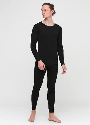 Термокостюм (реглан, кальсоны) cotpark однотонный чёрный спортивный хлопок 9008-02