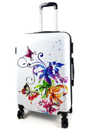 Большой чемодан с бабочки-листики белый на колесах, с 3d эффектом 90 л, bagia