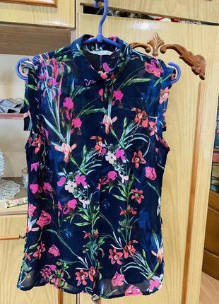 Новая шифоновая прозрачная цветастая блузка