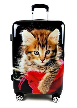 Пластиковый чемодан с черный abu dhabi. dubai на колесах, с 3d 60 л, bagia