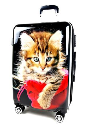 Большой чемодан с черный c котом 3d эффектом 90 л, bagia