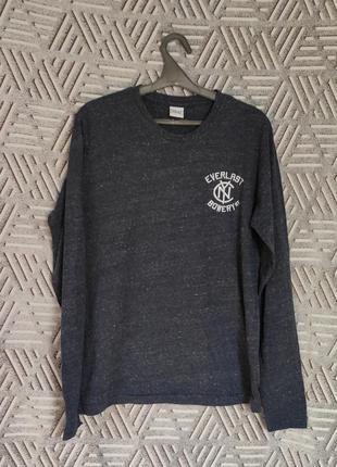 Темно-синий лонгслив, футболка с длинным рукавом