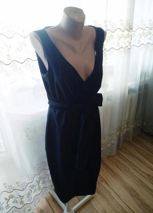 Эксклюзив, стильное офисное платье с карманами сукно, 12-14