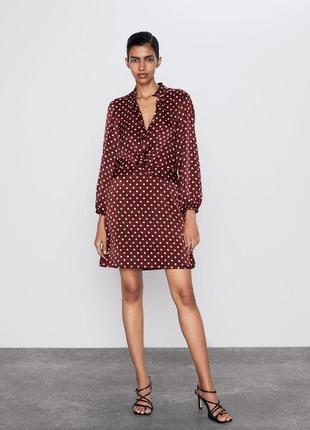 Zara morocco стильное платье  бордовое в горох горошек  кружочки с длинным рукавом рубашка-платье с узлом