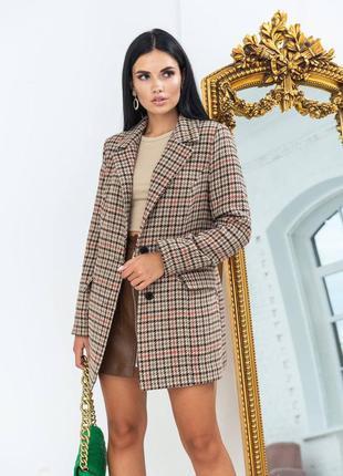 Пиджак пальто в клетку 4 цвета