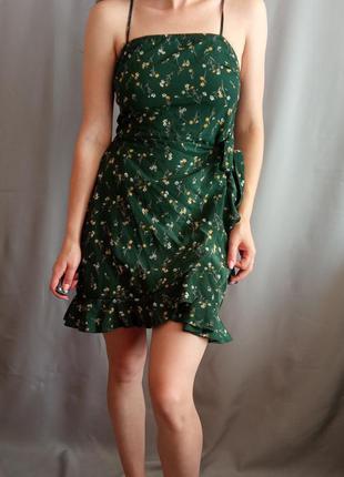 Ізумрудне 🌿 міня плаття в квітковий принт на запах розмір xs,s