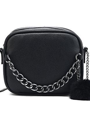 Крутая стильная черная сумка кроссбоди / клатч на длинном ремешке цепочке