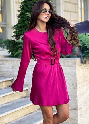 Шелковое платье миди с длинным рукавом