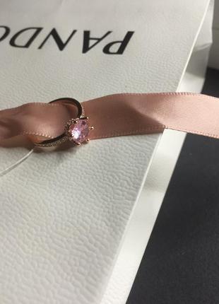 Серебряное кольцо пандора розовый большой камень и маленькие камушки розовое золото серебро проба 925 новое с биркой