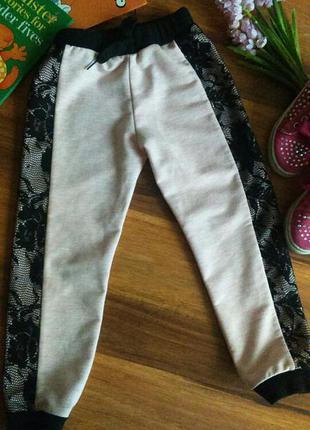 Модные трикотажные штанишки, брючки 3-4 года .