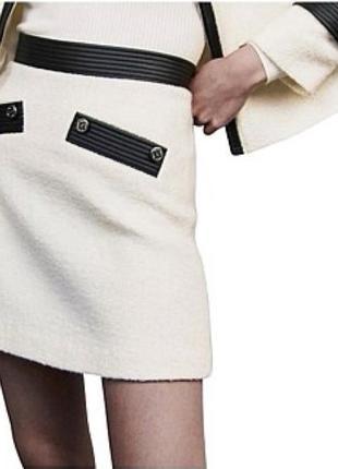 Твидовая мини юбка а-силуэта от maje в стиле cos sandro marc cain как новая