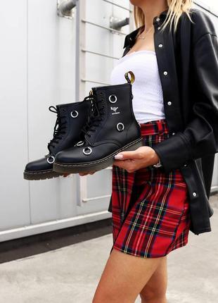 Женские стильные осенние ботинки dr. martens x raf simons 1460 remastered black