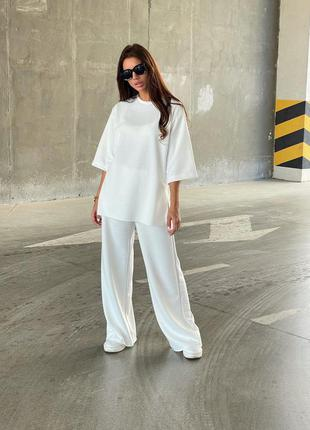 Белый женский костюм штаны кофта набор прогулочный красивый женский костюм