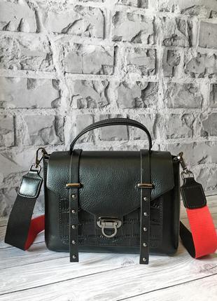 🌹сумка чемоданчик с замочком на длинном ремешке через плечо чёрная с красным